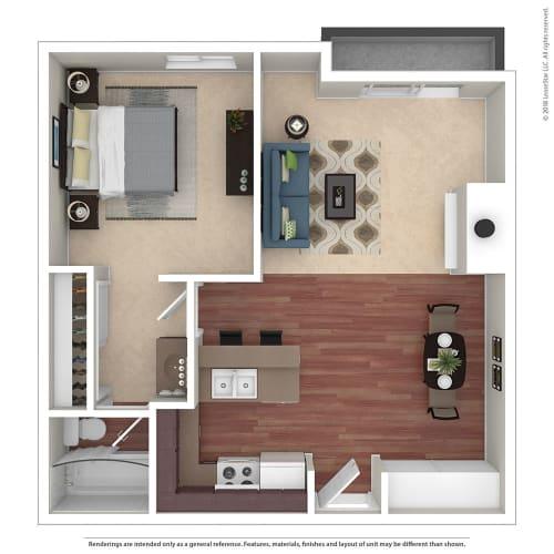 Floor Plan  1BR/1BA B 1 Bed 1 Bath Floor Plan at Chatsworth Pointe, California