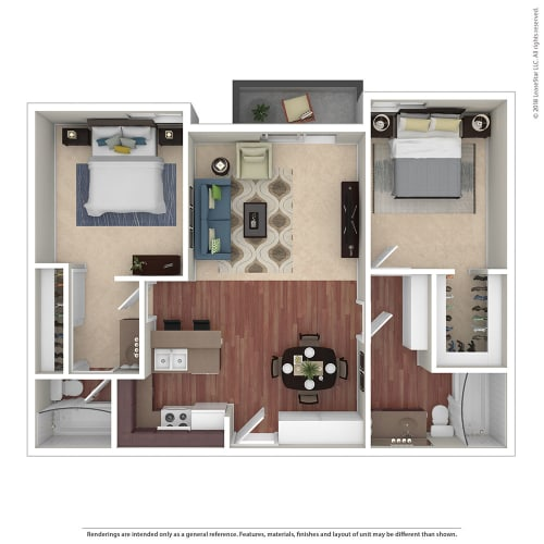 Floor Plan  2BR/2BA 2 Bed 2 Bath Floor Plan at Chatsworth Pointe, Canoga Park, CA, 91304