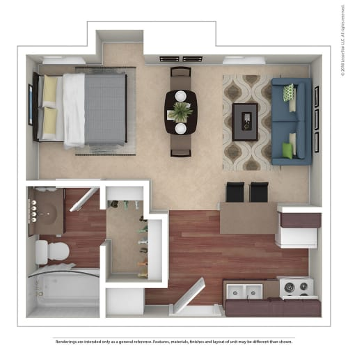 Floor Plan  Studio 0 Bed 1 Bath Floor Plan at Chatsworth Pointe, Canoga Park, CA
