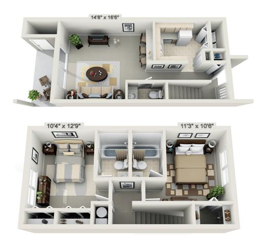 Floor Plan  2 Bedroom Townhouse