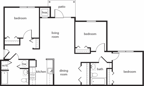Floor Plan  Three-Bedroom