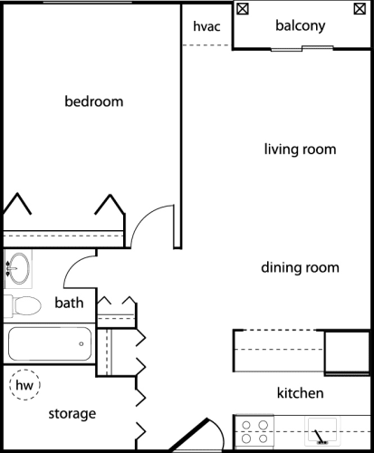 Floor Plan  One-Bedroom