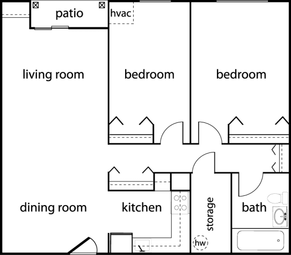 Floor Plan  Two-Bedroom