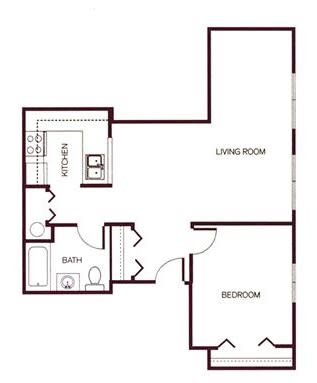 Floor Plan  1-bedroom