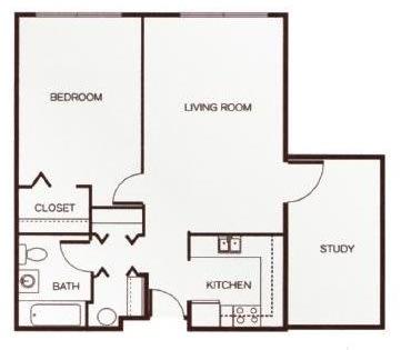 Floor Plan  One-Bedroom with Study