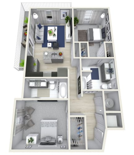 Floor Plan  2 Bedroom 2 Bath 1128 sqft (E) Floor Plan at Channel Club Apartments, Tampa