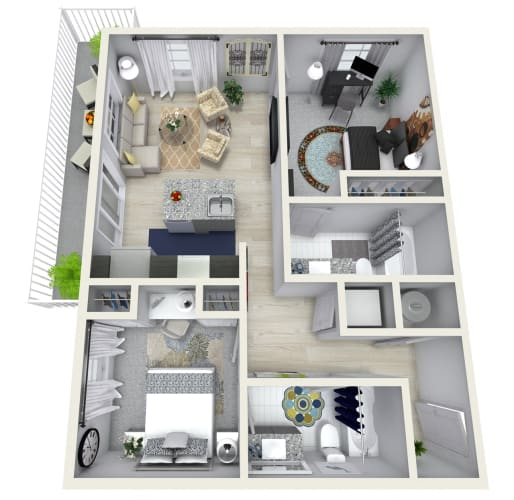 Floor Plan  2 Bedroom 2 Bath 989 sqft (H) Floor Plan at Channel Club Apartments, Florida