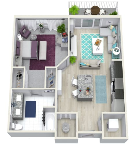 Floor Plan  1 Bedroom 1 Bath 741 sqft (J) Floor Plan at Channel Club Apartments, Tampa, FL, 33602