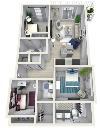 Floor Plan  2 Bedroom 2.5 Bath 1358 sqft (K) Floor Plan at Channel Club Apartments, Tampa, Florida