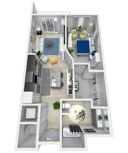 Floor Plan  1 Bedroom 1 Bath 858 sqft (Q) Floor Plan at Channel Club Apartments, Tampa, FL