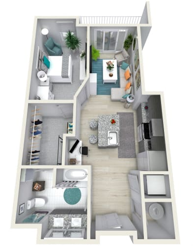 Floor Plan  1 Bedroom 1 Bath 833 sqft (T) Floor Plan at Channel Club Apartments, Tampa, Florida