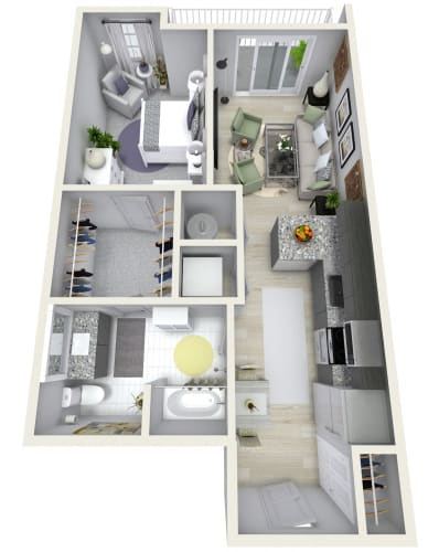 Floor Plan  1 Bedroom 1 Bath 760 sqft (U) Floor Plan at Channel Club Apartments, Tampa