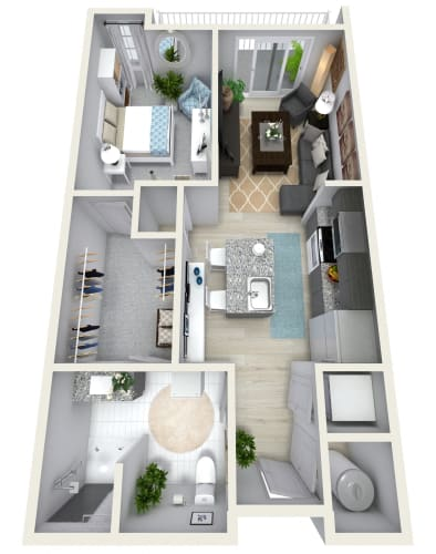 Floor Plan  1 Bedroom 1 Bath 833 sqft (W) Floor Plan at Channel Club Apartments, Florida, 33602
