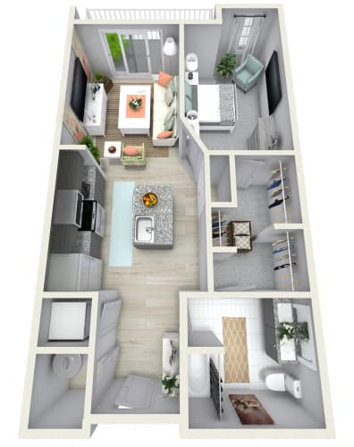 Floor Plan  1 Bedroom 1 Bath 835 sqft (X) Floor Plan at Channel Club Apartments, Tampa, FL, 33602