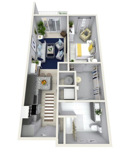 Floor Plan  1 Bedroom 1 Bath 858 sqft (Z) Floor Plan at Channel Club Apartments, Tampa, 33602