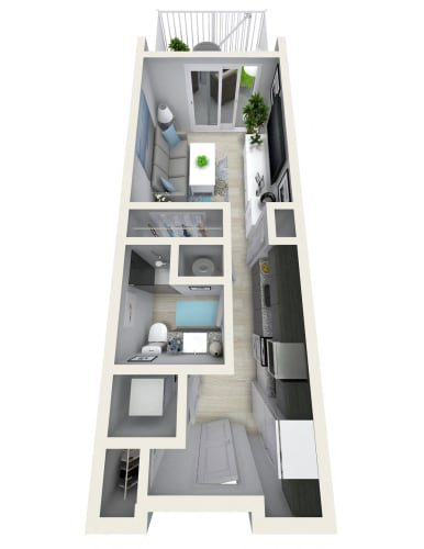 Floor Plan  Studio 531 sqft (N) Floor Plan at Channel Club Apartments, Florida, 33602