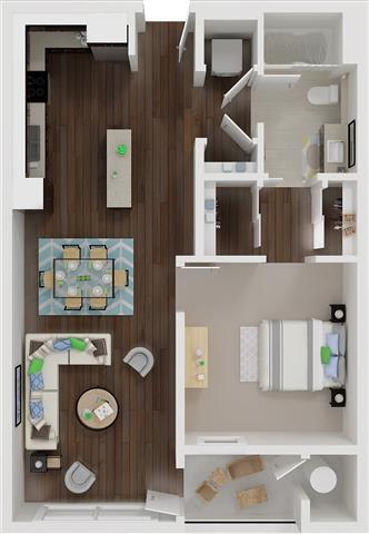 Floor Plan  One bedroom floor plan l Aspire Apartments For Rent in Tracy CA