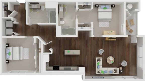 Floor Plan  Two bedroom floor plan  l Aspire Apartments For Rent in Tracy CA