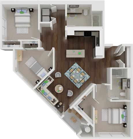 Floor Plan  Three bedroom floor plan   l Aspire Apartments For Rent in Tracy CA