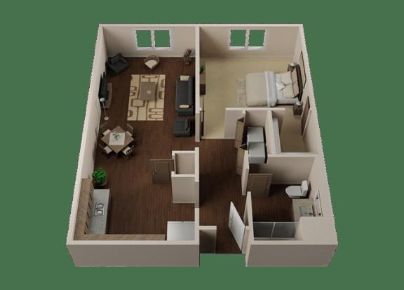 Floor Plan  One Bedroom, One Bath Apartments in Downtown Sacramento | Legado de Ravel