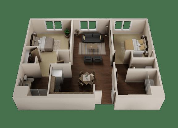 Floor Plan  Two Bedroom, Two Bath Apartments in Downtown Sacramento | Legado de Ravel