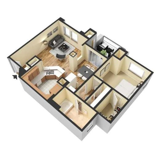 Floor Plan  One Bedroom Floor Plan l Lesarra Apartment in El Dorado Hills Ca