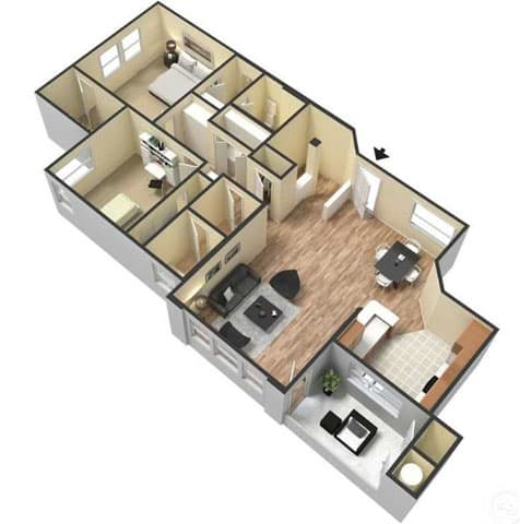 Floor Plan  Two Bedroom Floor Plan l Lesarra Apartment in El Dorado Hills Ca