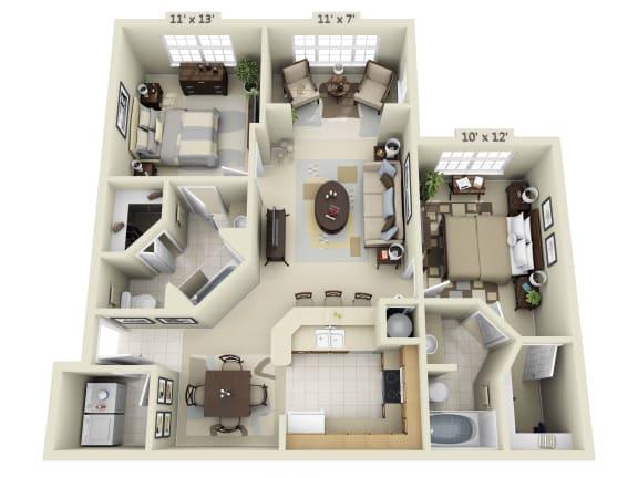 Floor Plan  2 Bedroom with Solarium