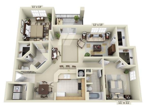 Floor Plan  3 Bedroom with Balcony