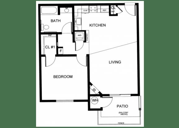 Floor Plan  One Bedroom Floor plan l Creekside Village in Pittsburg, CA