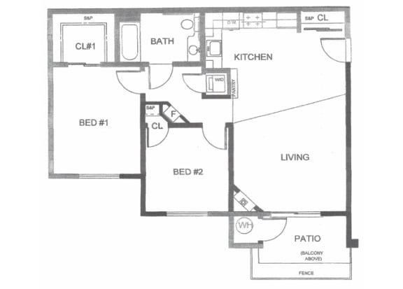 Floor Plan  Two bedroom floor plan l Creekside Village in Pittsburg, CA