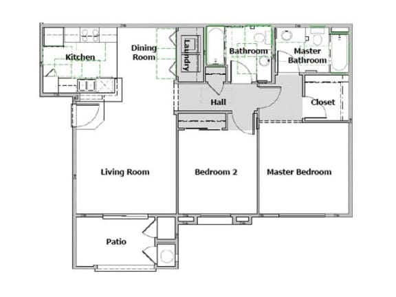 Floor Plan  Arbor Pointe 2 Bedroom floor plan, 977 square feet with a patio