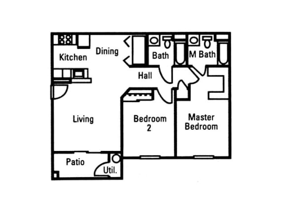 Floor Plan  2 Bedroom 2 Bath floor plan, 933 square feet with patio, opens a dialog.