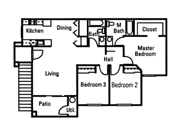 Floor Plan  3 Bedroom 2 Bath floor plan, 1,148 square feet with patio, opens a dialog.