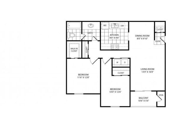 Floor Plan  Two Bedroom One and a Half Bathroom