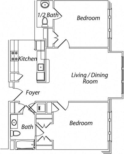 Floor Plan  Victory Terrace Senior Apartments 2 Bedroom 1.5 Bathroom Floor Plan