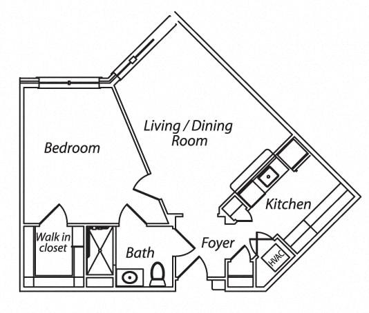 Floor Plan  Victory Terrace Senior Apartments 1 Bedroom 1 Bathroom Floor Plan