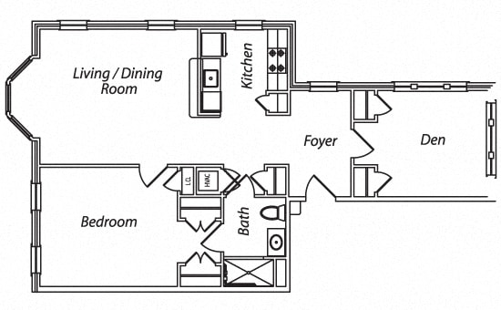 Floor Plan  Victory Terrace Senior Apartments 1 Bedroom 1 Bathroom w/Den Floor Plan