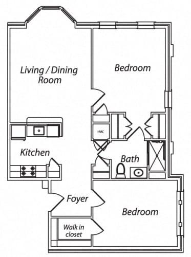 Floor Plan  Victory Terrace Senior Apartments 2 Bedroom 1 Bathroom Floor Plan