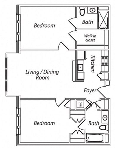 Floor Plan  Victory Terrace Senior Apartments 2 Bedroom 2 Bathroom Floor Plan