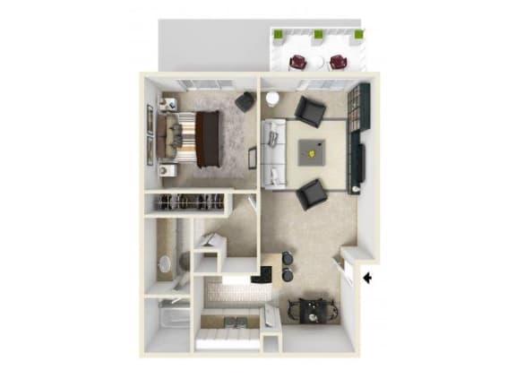 Floor Plan  1X1 floor plan in Pico Rivera, CA l Corsica