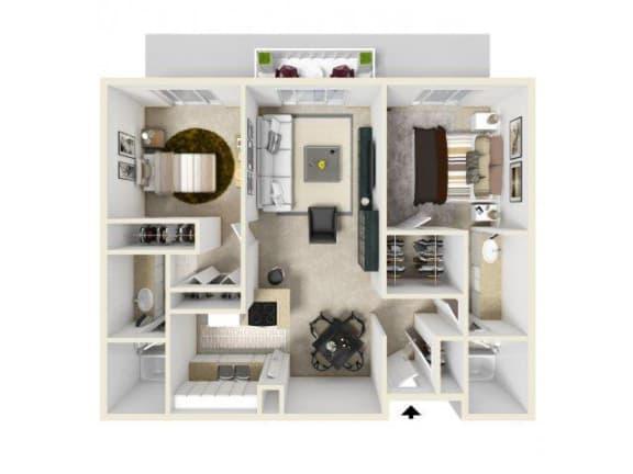 Floor Plan  2X2 floor plan in Pico Rivera, CA l Corsica
