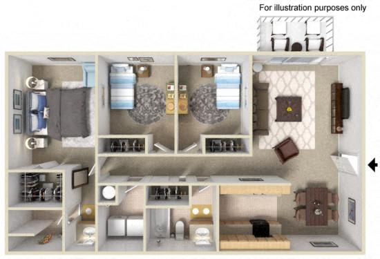 Floor Plan  Westwood Village | Apartments | Floorplan | Oak