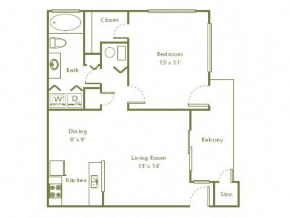 Floor Plan  1 Bedroom, 1 Bath 735 sqft