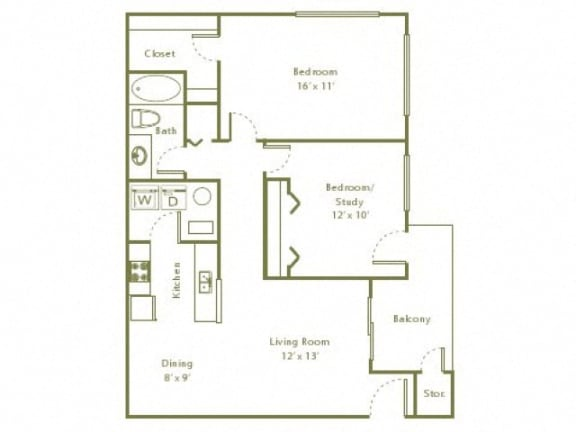 Floor Plan  2 Bedroom, 1 Bath 884 sqft