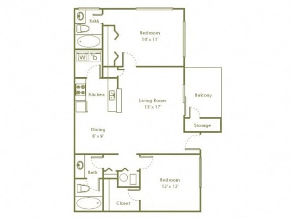 Floor Plan  2 Bedroom, 2 Bath 942 sqft