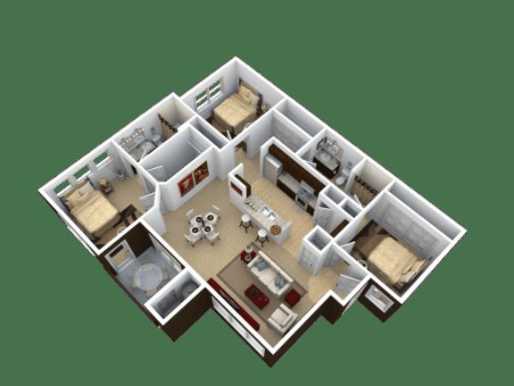 Floor Plan  Three Bedroom Floor Plan l The Trails at Pioneer Meadows Apartments in Sparks NV