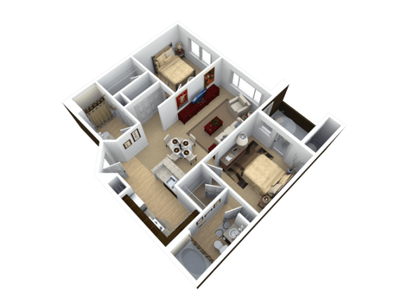 Floor Plan  Two Bedroom Floor Plan l The Trails at Pioneer Meadows Apartments in Sparks NV