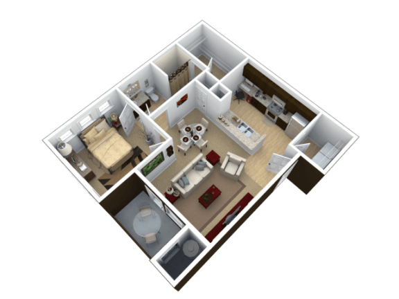 Floor Plan  One Bedroom Floor Plan l The Trails at Pioneer Meadows Apartments in Sparks NV