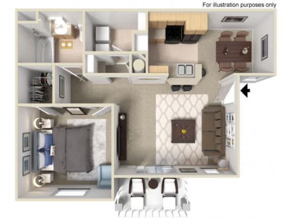 Floor Plan  One bedroom Floor Plan  l Villas at D'Andrea Apartments in Sparks NV